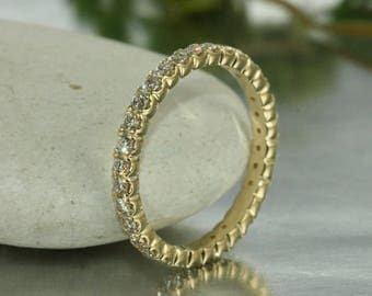 Eternity Band in 14K Solid Yellow Gold Full Diamond Eternity Band Diamond Anniversary Ring Eternity Band Diamond Wedding Band Promise Ring