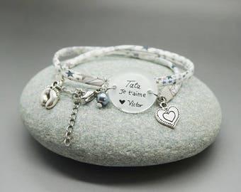 """Bracelet étoile """"tata je t'aime"""" prénom - bracelet personnalisable - tia te quiero - I love you aunt"""