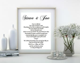 Gay Wedding Gift, Gay Couple, Mr and Mr, Groom and Groom gift, DIGITAL Wedding gift for gay couple, DIGITAL print