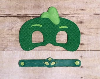 PJ Masks Gecko Gekko Inspired Mask & Bracelet Set/Child/Adult/Cosplay/Pretend Play/Costume/Halloween/Photo Booth/Birthday/Party Favor/Gift/