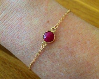 Ruby bracelet 18K Gold fill tiny Gold bracelet small red gemstone bracelet July Birthstone jewellery minimalist dainty raw Ruby Jewelry gift