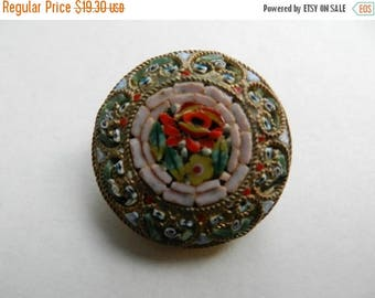 Summer Sale Vintage Italian Micromosaic brooch Unique Shipped free