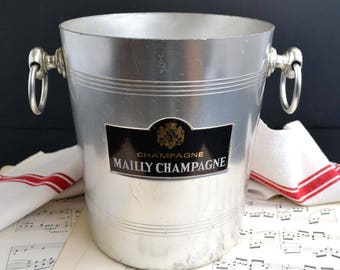 Vintage French Metal MAILLY Grand Cru Champagne Ice Bucket Wine Cooler Chiller