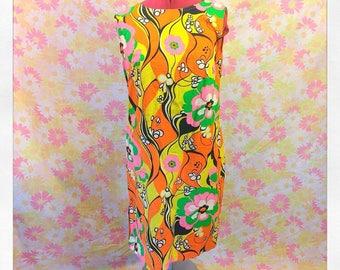 Vintage Mod 1960's Day Glo Pop Art Flower Power Shift Dress