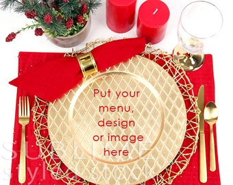 Styled Stock Photography / Tablesetting mock up / Menu  / Mockup / Christmas Table / Plate / Holiday Place setting / Dishes / StockStyle-903