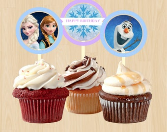 frozen birthday printable cupcake toppers
