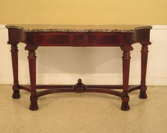 43866EC: CENTURY Marble Top Mahogany Console Table with Paw Feet
