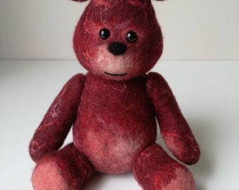 Red wet felted Teddy Bear