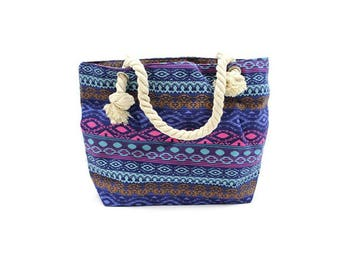 Classic bag, rope handle, Balinese, blue, pink, purple, shopping bag, beach bag