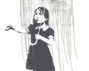 "umbrella girl Counted Cross Stitch Banksy Pattern needlepoint  needlecraft Banksy cross sticth - 11.43"" x 18.21"" - L1411"