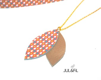 Necklace leather and plated gold 24 carats, shuttles Pearly gold leather and taupe printed Japanese drops graphics