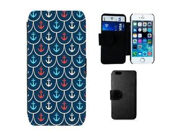 Wallet case Samsung Galaxy S8 Plus, S7 S6 Edge, S4 S5 Mini, iPhone SE 8 7 6S 6 Plus, X 5S, 5C 5 4S 4, Anchor nautical phone flip cover. F381
