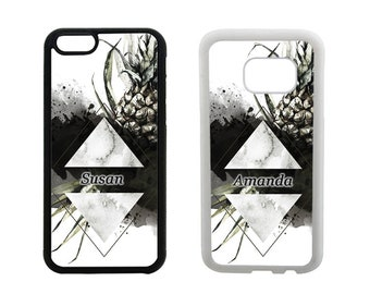 Personalised phone case iPhone SE 5C 5S 6S 6 7 8 Plus X 5 4S, Samsung Galaxy S8 Plus, S7 S6 Edge Note 5 S5 S4, rubber pineapples cover. M103