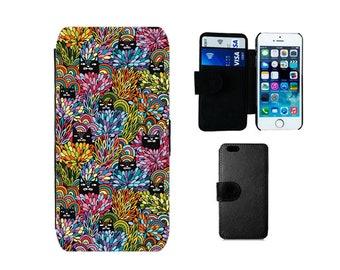 Cat phone case Wallet for iPhone SE X 8 7 6S 6 Plus 5S 5C 5 4S, Flip case Samsung Galaxy S8 Plus S7 S6 Edge S4 S5 Mini, cats cat gifts. F388
