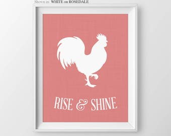 Rise And Shine Rooster Sign Kitchen Wall Art Kitchen Print Kitchen Decor Rooster Decor Kitchen Signs Home Decor Print Kitchen Wall Decor
