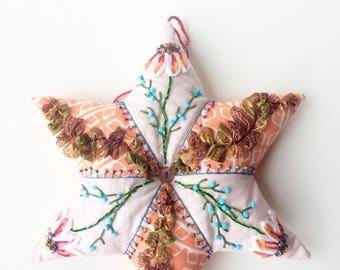 embroidered Christmas star - Christmas ornament - home decor