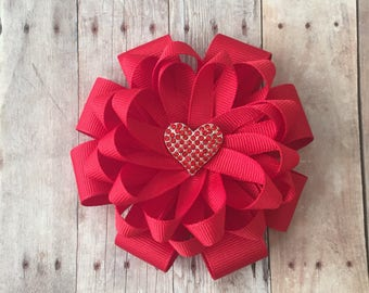 Heart Loopy Flower Bow, Valentine's Day Bow, Heart Hair Bow