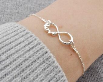 Sterling Silver Infinity love bracelet, bracelet Infinity, Charm Infinity, Pendant Infinity, Little Infinity, Silver Infinity, Small Infinit