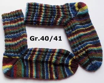 hand-knitted socks, Gr. 40/41 (EU), brown - colourful