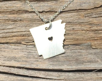 Arkansas State Necklace,  Arkansas Pendant, Sterling Silver, Arkansas Necklace, Gift for Her, 3 Sizes, Holiday Gifts, Wholesale Prices