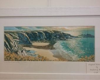 Original Watercolour Caerfai Bay by Andrew Bailey. Pembrokeshire  beach seascapes. Welsh art paintings. Shoreline coastal scenes
