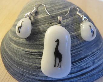 Giraffe Fused Glass Pendant and Earrings Set