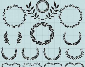 Wreath Silhouettes Clipart, Floral Wreath Clipart, Leaf Wreath SVG, Wreath Pattern, Laurel Clipart, Garland Printable, SVG Files