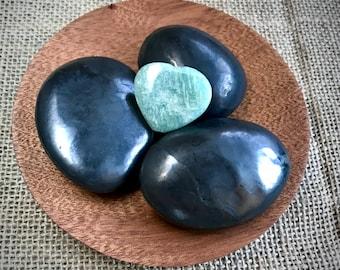 Tumbled Shungite Stones & Aventurine Heart in Custom Mahogany Bowl