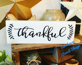"""STENCIL, thankful with laurels, 16""""x5"""", reusable stencils, plastic stencils, farmhouse stencils, stencils, stencils for signs, NOT A SIGN"""