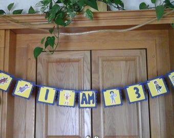 "SuperHero  Birthday Banner ---""I am 2""== ""I am 3"" ==""I am 4"" ==""I am 5""== 5 to  7 feet wide"