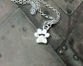 Paw Print Necklace, Paw Print Jewelry, Cat Paw Necklace, Dog Paw Necklace, Paw Print Charm, Pawprint Necklace