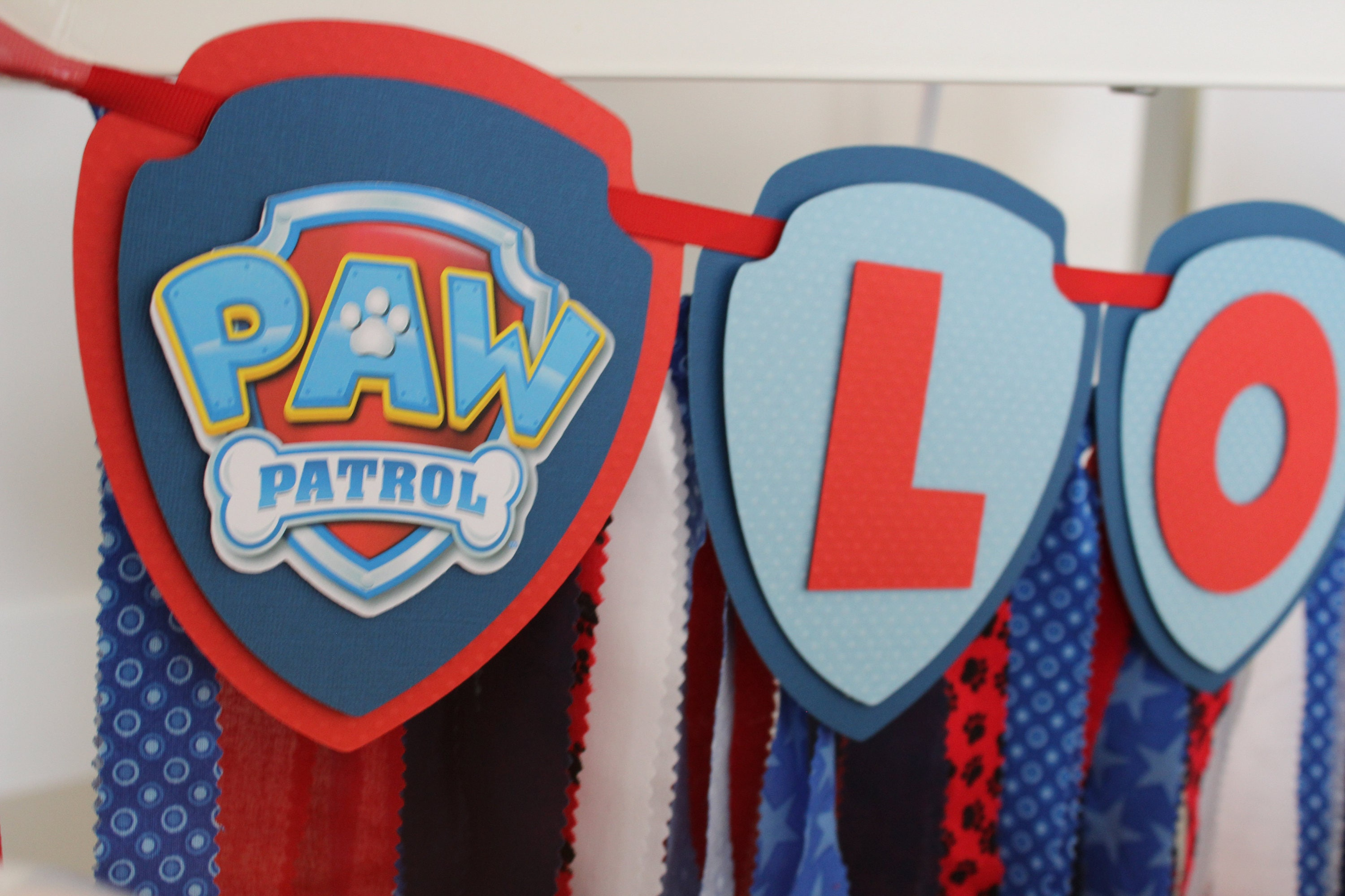 Paw Patrol Happy Birthday Banner Name Fabric Party Decorations Dog