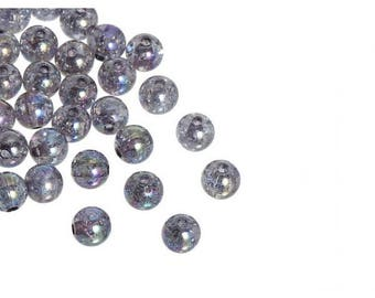 100 cracked grey 8mm beads