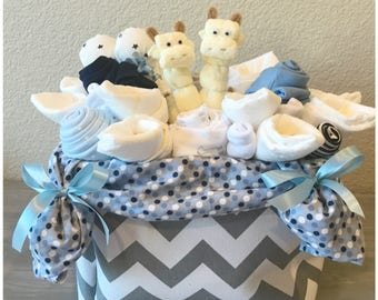 New Baby Gift Basket For Boy   Jungle Giraffe Baby Shower Basket/Co Worker