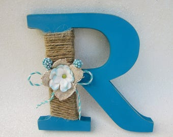 Custom letter name - Rustic letter R - Wedding decor - Wedding shower decor - Blue letter R - Burlap letter - Photography prop - Wall decor