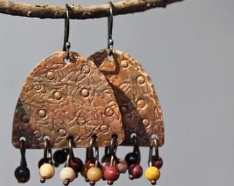 Handmade copper earrings, Copper jewelry, Dangle copper earrings, Metal earrings, Organic copper earrings, Sterling silver hooks, Gift