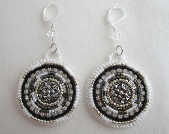 Black and White Embroidered Earrings