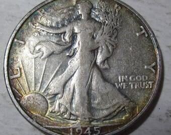 1945 S silver Walking Liberty half dollar coin (#E217f)