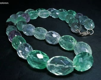 Natural Beaded Fluorite Necklace, Faceted Fluorite Necklace, Sterling Silver 925, Handmade in Greece, FREE SHIPPING