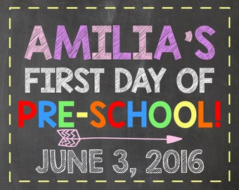 First Day of Pre-School Sign - Personalized School Sign For Girls - Pre-K Sign - Announcement - Photo Prop Sign - School Sign