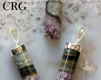 Silver Plated Amethyst Cylinder Pendant 15-30mm (DR10-GS-S)