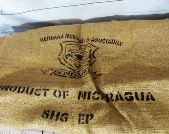 Burlap Sack, Coffee Sack, Burlap Coffee Bag, Large Cloth Sack, Product of Nicaragu Coffee Bag