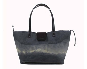 Lined, Waxed Cotton Canvas Tote Bag - Grey - Leather Handle