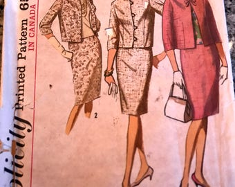 Classy 1960's  Suit and Blouse Pattern---Simplicity 5881---Size 12 Bust 32