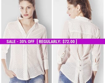 SALE Sheer Blouse, White Button Up, White Button Down Shirt, Clothes for Women, Ladies Tops, High Fashion Shirts, High Neck Blouse, Loose