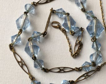 Vintage Art Deco Simulated Aquamarine Faceted Glass Bead Necklace - Gold Tone 1910-1920s Costume Jewelry