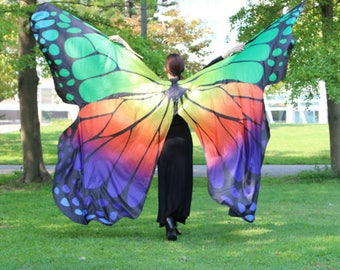 Butterfly wings Belly Dance with sticks for Adult, quick shipping from USA.
