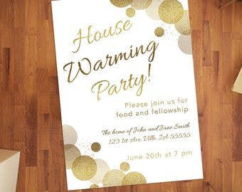 Confetti Custom Housewarming Party Invite Printable-Glitter-Gold-New House Shower Card-DIY Digital Download