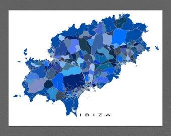 Ibiza Map Print, Spain, Ibiza Island Map Artwork