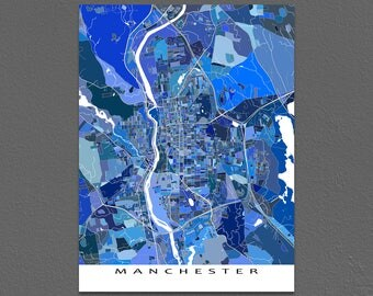 Manchester Map Art Print, Manchester New Hampshire, USA City Maps